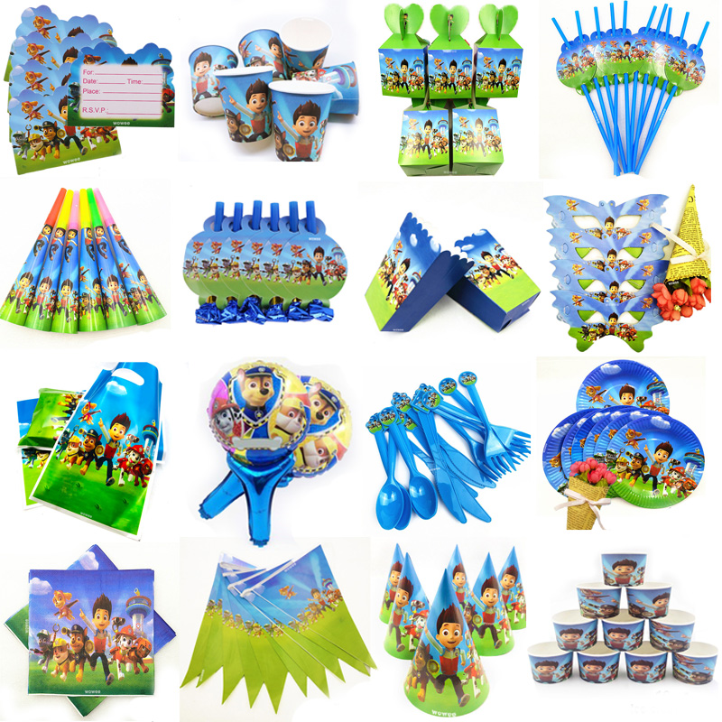 10 Kids Paw Patrol Disposable Tableware Happy Birthday Party Supplies Festival Decoration Boys Event Party Favor Gender Reveal