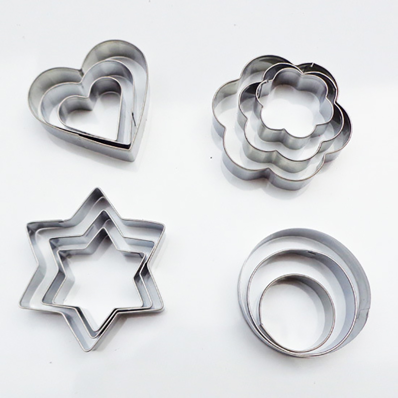 3pcs/set Baking Mould Star Heart Flower Cutter Stainless Steel Egg Mould Cookie Cutter Biscuit DIY Mold
