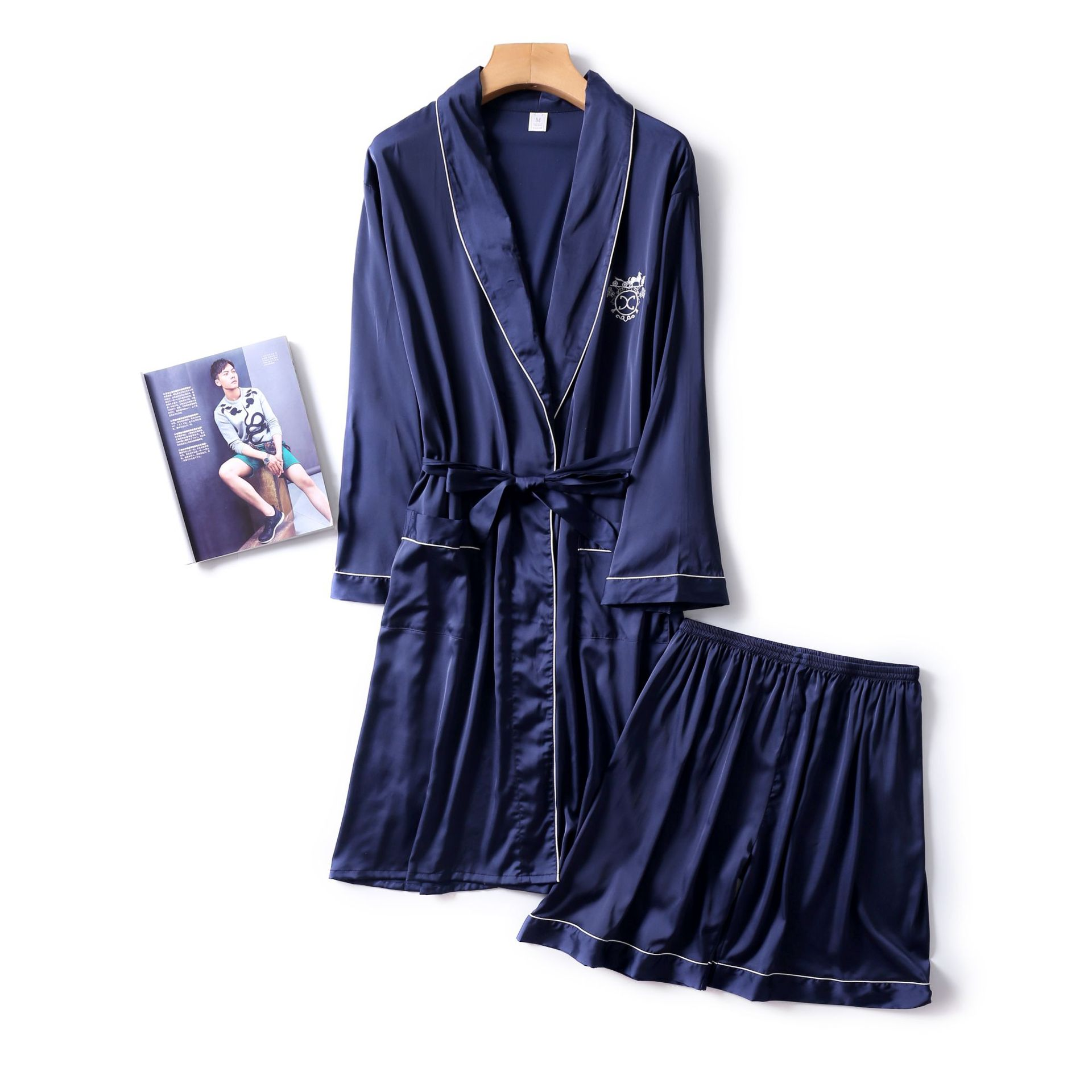 Navy Blue Mens Robe Short Pants Pajamas Suit Spring Two Piece Sleepwear Sets Casual Home Wear Nightwear Sleep Kimono Bath Gown