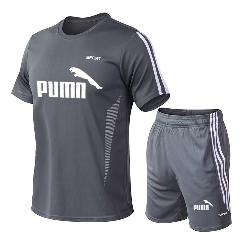 2020 Tracksuit Men's M-5XL Summer Hot Sale Men's Suit T-shirt + Shorts Two-piece Casual Male O-neck Print Sportswear