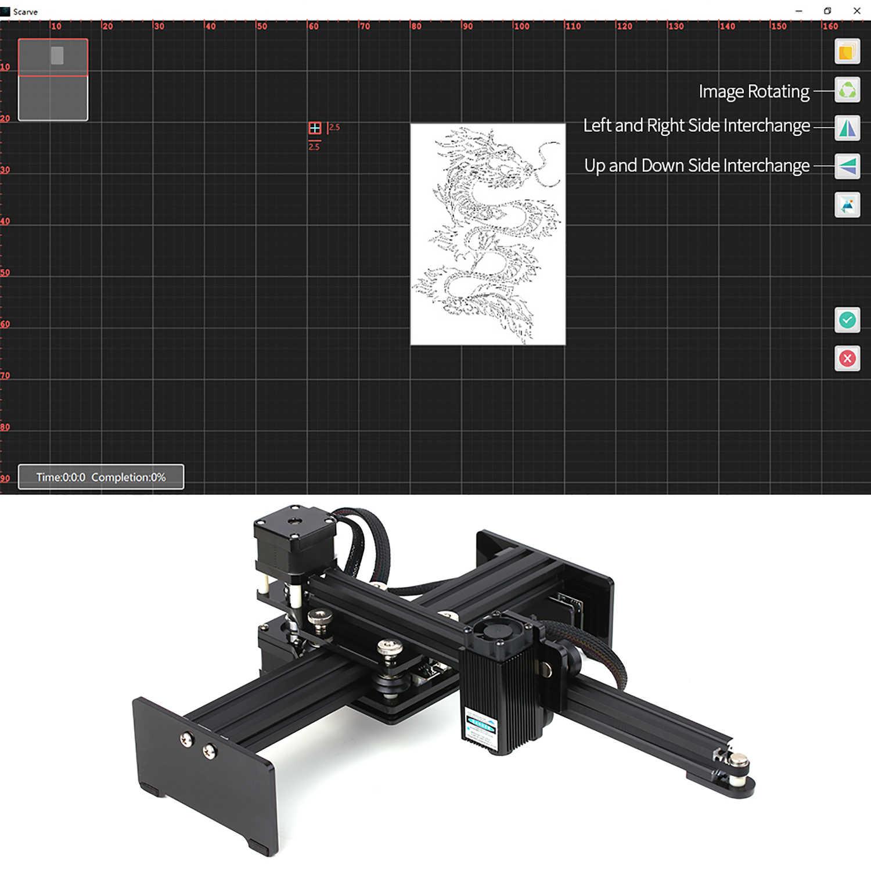 Portable 30W Mini Desktop CNC Laser Engraver Printer Laser Mesin Ukiran DIY Laser Logo Mark Printer Area Kerja 170*200Mm