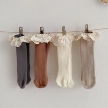 Socks Knee-Length Baby-Girls Kids Cotton 4-Pairs/Lot Soft 1-6-Years-Knee New