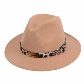 2020 Fashion Trend Women Ladies Wool Felt Fedora Hat Leopard Print Wide Brim Wool Panama Casual Formal Party Winter New Fedoras