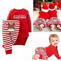 Weihnachten Neugeborene Baby Mädchen Kleidung Sets 2019 Meine Erste Weihnachten Custumes Baby Romper + Stripped Hosen Infant baby outfits