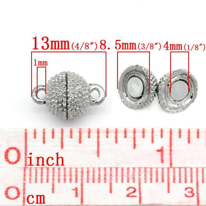 """Doreenperles mode fermoirs cuivre + hématite magnétique fermoirs boule couleur argent breloques à assembler soi-même 13mm x 9mm (3/8 """"), 1 ensemble neuf"""