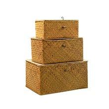 Handmade straw woven storage basket with lid makeup organizer
