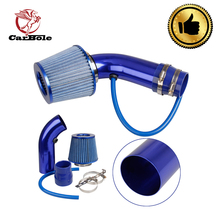 цена на CarBole Universal Car Aluminum Air Intake Kit Pipe Diameter 3 +Cold Air Intake Filter+ Clamp+ Accessories