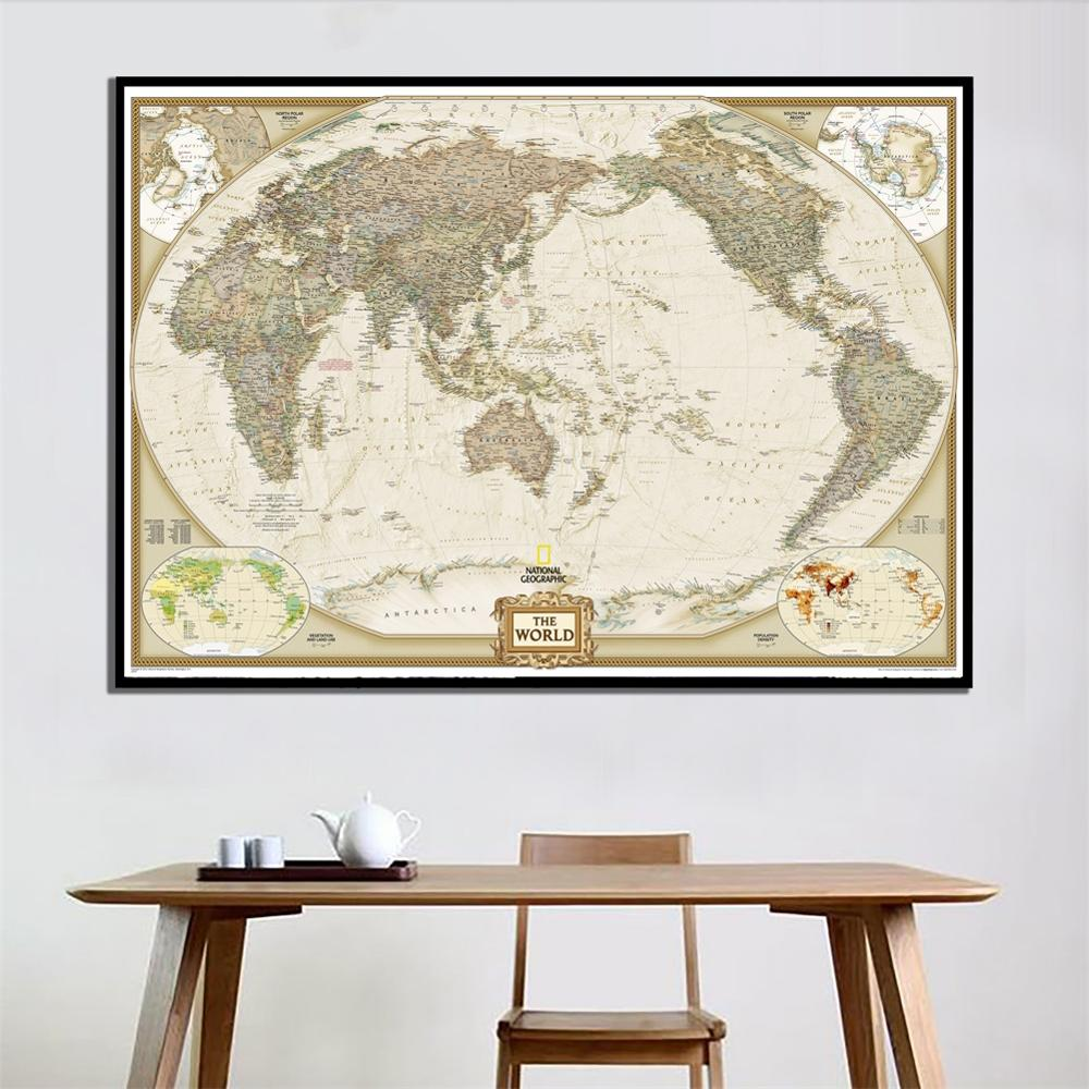 2011 Edition The World Physical Map A2 Size Waterproof Vinyl Spray Wall Map For Home Crafts Office Wall Decoration