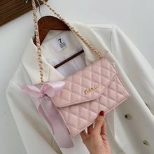 High Quality PU Leather Women Messenger Bag Plaid Ladies Crossbody Bag Chain Trendy Candy Color Small Flap Shopping Handbag