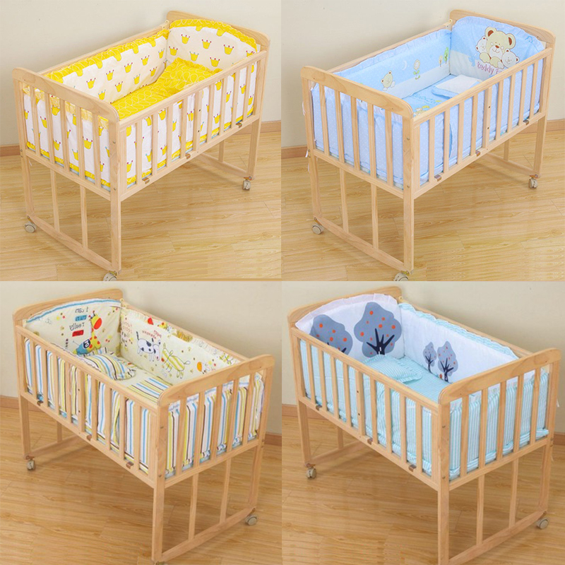 5Pcs/Set Breathable Baby Bedding Bumper Collision Half Around Baby Bumper Crib Set Cotton Printing Mesh Safety Rails
