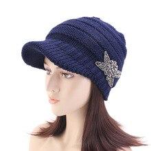 Beanie-Hat Visor Flower-Fashion-Cap Women Winter Knit Skull-Cap Beaded Jeweled Brim Chunky