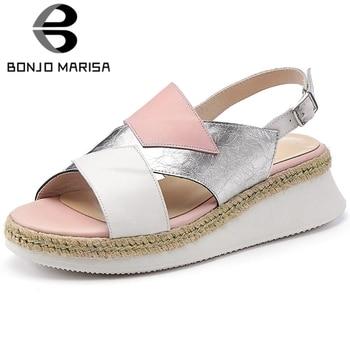 BONJOMARISA 2020 New Brand Trendy Patchwork Platform Sandals Summer Genuine Leather Sandals Women Comfy Med Wedges Shoes Woman