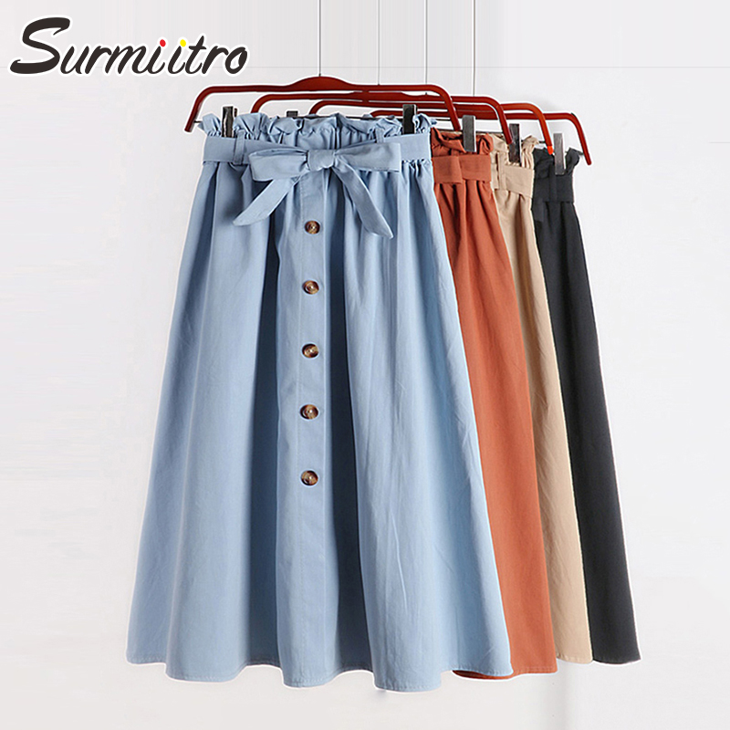 Surmiitro Skirts Womens Button Pleated Midi Spring Summer Elegant High-Waist Korean Knee-Length