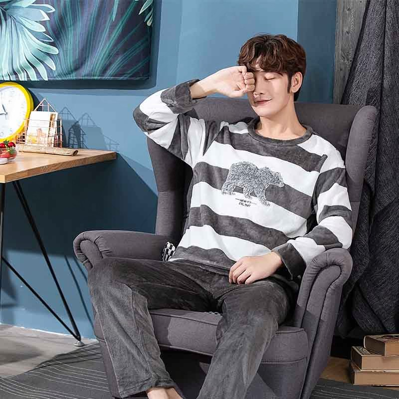 Autumn Winter Long Sleeve Warm Mens Pajamas Set  Flannel Men's Thick Sleepwear Coral Fleece Sleep Lounge Clothing BB50sy