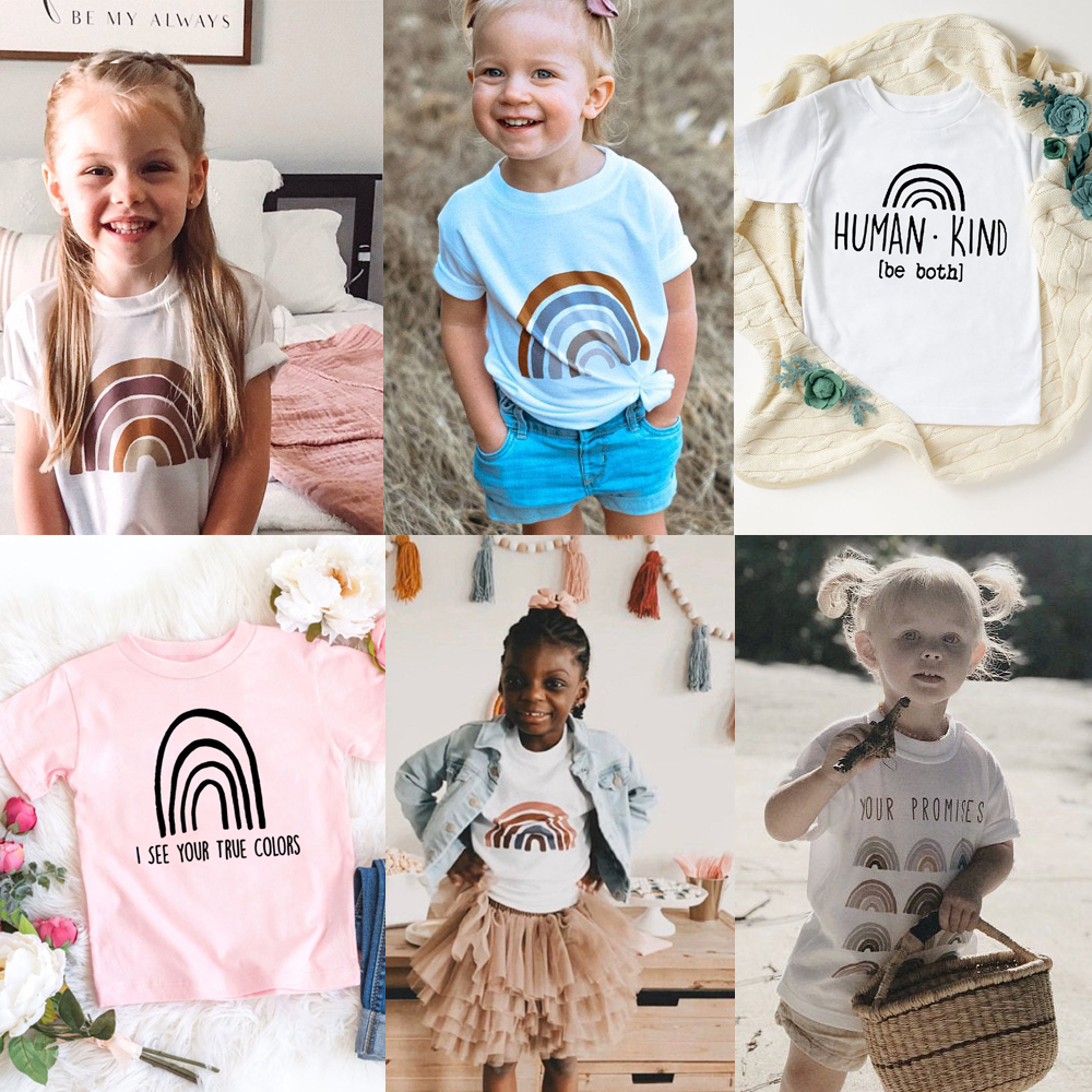 Kids Rainbow T Shirt Rainbow T-shirt Desert Colors Kids Bys Girls Tops Tee Shirts Faith Shirt Rainbow Summer Short Sleeve T