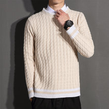 Spring 2020 new men's sweater high-quality slim Japanese twist striped knit top stitching plus size sweater pullover(China)