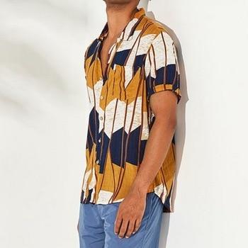 Men Summer Shirts Mens Multi Color Lump Chest Pocket Top Fashion Hawaiian Print Shirt Short Sleeve Round Hem Loose Shirts Blouse 1