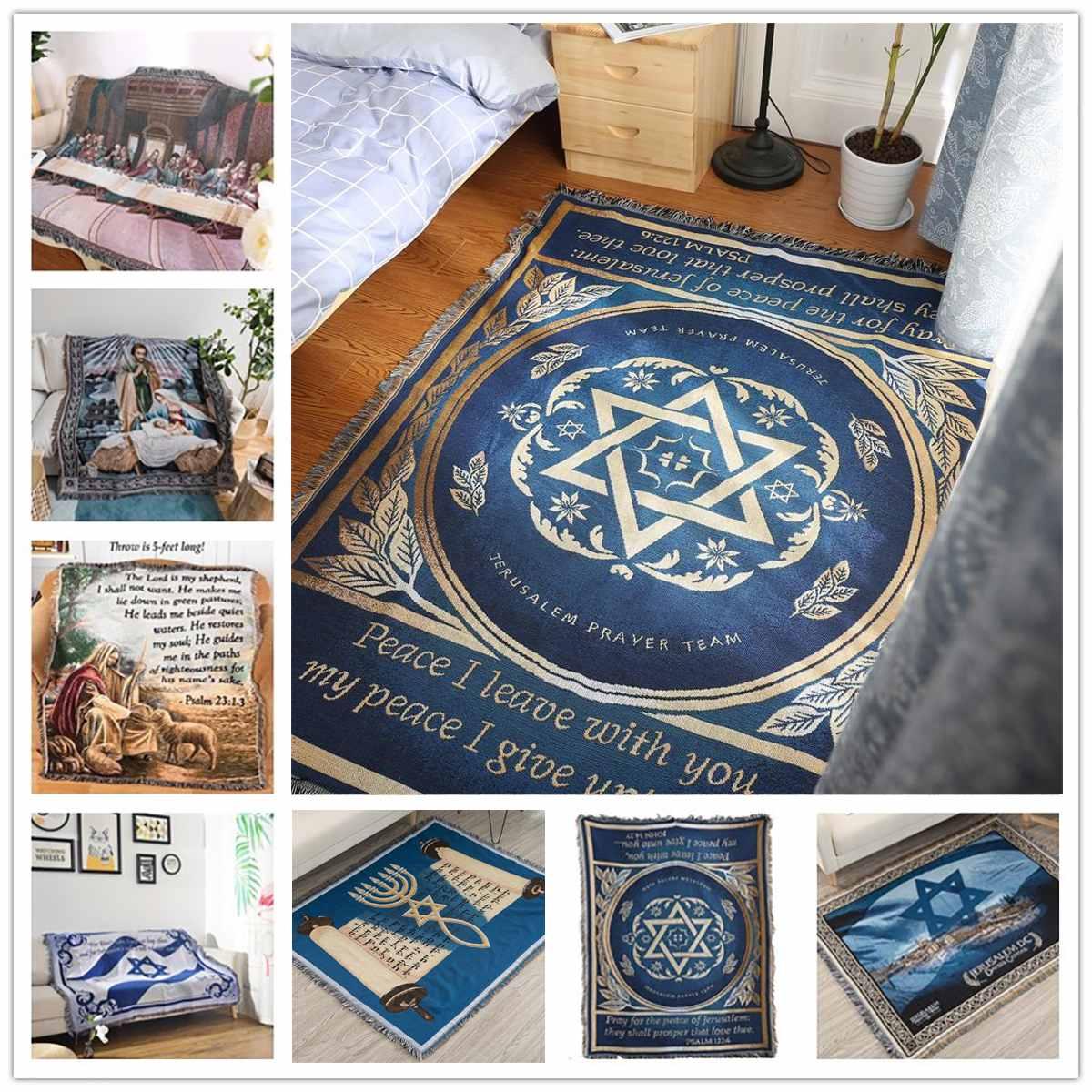 Judaism Israel Prayer Blanket Carpet Tapestry Sofa Knit Throw Towel Christian Gift Livingroom Bed Blanket Middle East Decoration
