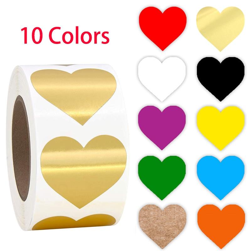 500pcs Etichetta Chroma Colore-Codice di cuore Etichette adesivi Nero bianco verde blu arancione rosso marrone giallo oro di cancelleria adesivi