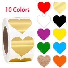 Etiqueta croma etiquetas cor-código de coração, etiquetas de coração preto branco verde azul laranja vermelho marrom amarelo papelaria 500 peças adesivos