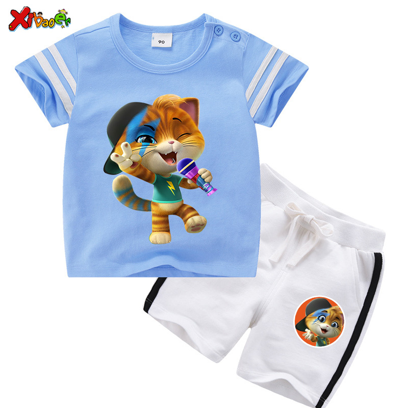 Children Clothing Sets Summer Boys Clothing Cartoon Cute 44 Cool Cats T Shirt Kids Clothes Sport Casual Toddler Baby 2 Pcs Suits