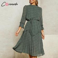 Conmoto 우아한 pleated 파티 롱 드레스 여성 쉬폰 짙은 녹색 긴 소매 드레스 ruffles 가을 겨울 드레스 vestidos