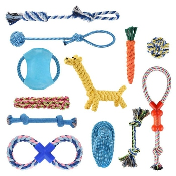 Rope Dog Toy - 12 Pack Durable Pet Puppy Rope Chew Toy Set Gifts Cotton Teething Rope Dog Toy for Small Medium Large Dogs