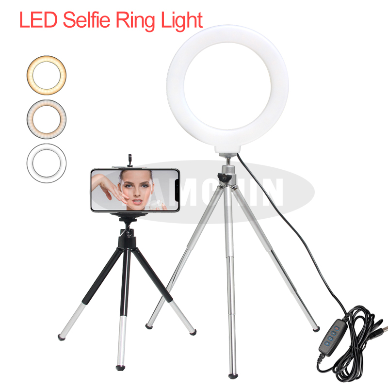 Video Light Dimmable 6 Inch LED Selfie Ring Light Tripod USB Ring Lamp Photography Light With Phone Holder For Makeup Youtube
