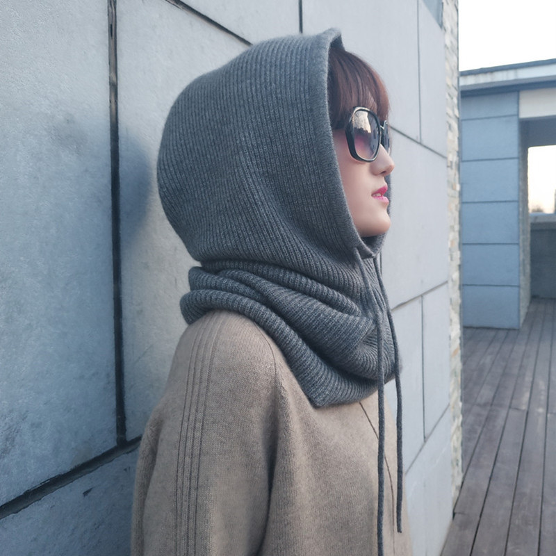Women Cashmere Wool Hats Bib One Female Winter Thick Knitted Skullies Version Cap Earmuffs Collar Soft Warm Beanies Hooded Scarf
