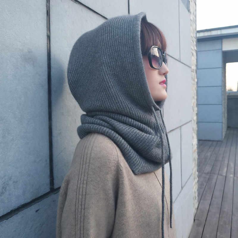 Áo Len Cashmere Nón Yếm Một Nữ Mùa Đông Dệt Kim Dày Dặn Skullies Phiên Bản Nắp Bịt Tai Cổ Mềm Mại Ấm Beanies Mũ Trùm Khăn