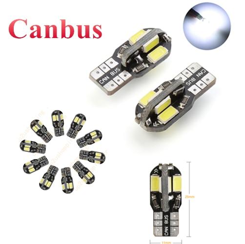 10 шт. светодиодный лампочка для салона автомобиля Canbus без Ошибок T10 белый 5730 8SMD светодиодный 12 в автомобильный боковой клиновидный светильн...