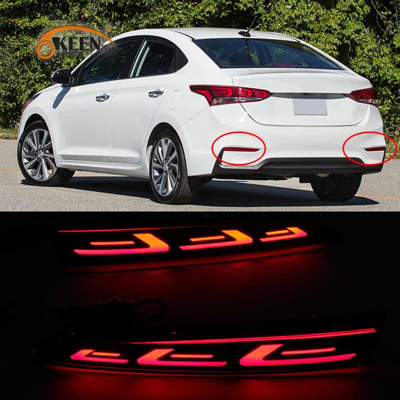 2 шт. высококачественный автомобильный светодиодный задний противотуманный фонарь бампер для Hyundai Solaris Accent 2017 2018 2019 свет автоматический стоп-сигнал отражатель