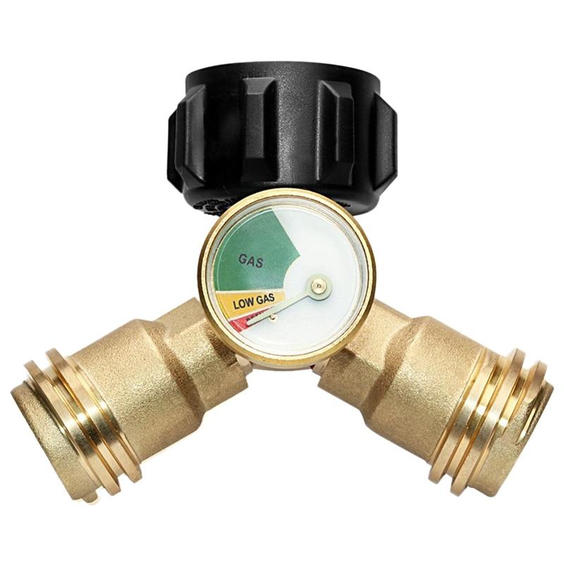 Propane Y Splitter Tee Adapter Connector With Propane Tank Gauge Level Indicator Leak Detector Gas Pressure Meter|Terminal Blocks| |  - title=