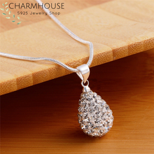 Charmhouse S925 Silver Necklaces For Women Waterdrop Zirconia Pendant & Necklace Collier Christmas Gifts Fashion Jewelry Bijoux special new fashion opal maxi necklace romantic waterdrop necklaces