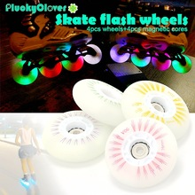 Roller-Wheel Inline-Skating-Roller Led-Light Rainbow-72mm Flash Slalom 80mm 90A PU 76mm