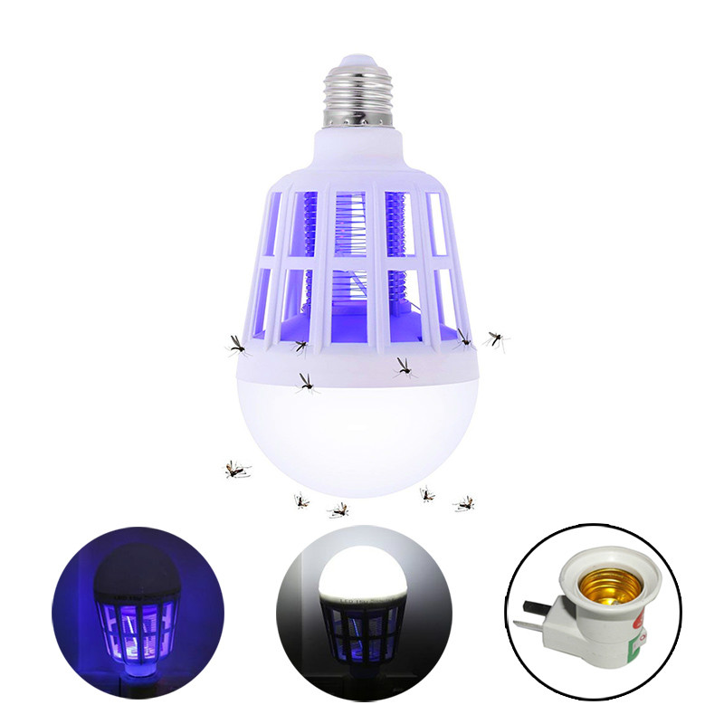 220V E27 UV LED Bulb 15W Mosquito Killer Lamp 2 In 1 Mosquito Trap Insect Killer Light Bulb Fly Bug Zapper Night Light For Baby(China)