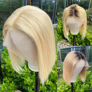 LOVINESS Human-Hair Wig Closure Short Blonde U-Part Black-Color Straight Women Cheap