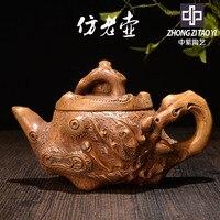 No roxo yixing antigo escuro-vermelho esmaltado cerâmica bule taiwan backflow imitar chaleira antiga uma fábrica a revolução cultural