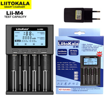 LiitoKala Lii M4 18650 צג lcd מטען אוניברסלי חכם מטען מבחן קיבולת עבור 26650 18650 21700 AA AAA וכו 4 חריץ 5V 2A