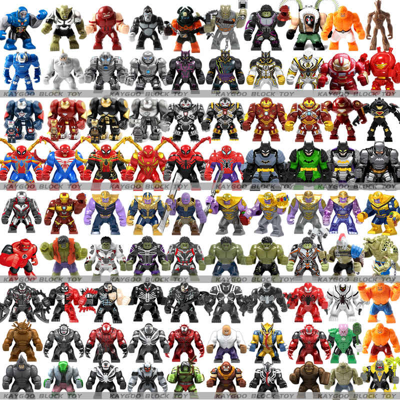 ขนาดใหญ่ Figures Building Block Avengers Super HERO Thanos Hulk Iron Man Spiderman Hulk Batman Black Panther ของเล่นสำหรับเด็ก
