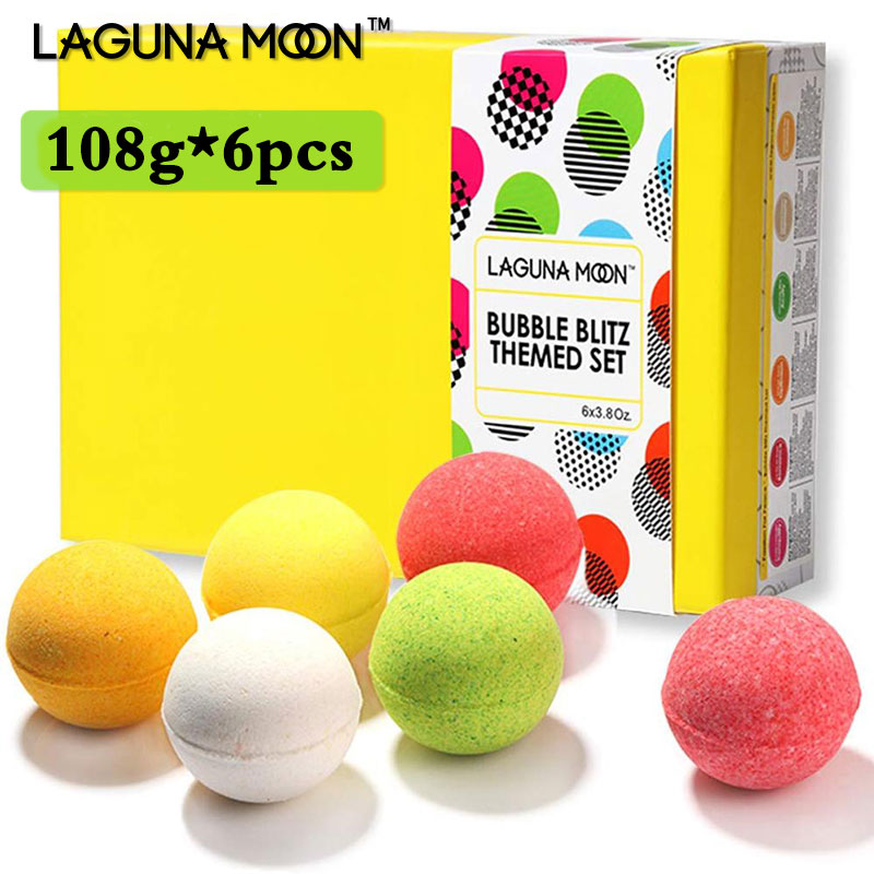 Lagunamoon 108g*6Pcs Gift Set Large Sea Salt Bath Bomb Spa Natural Organic Lush Bath Ball Lavender Rose Orange Lemon Fragrance