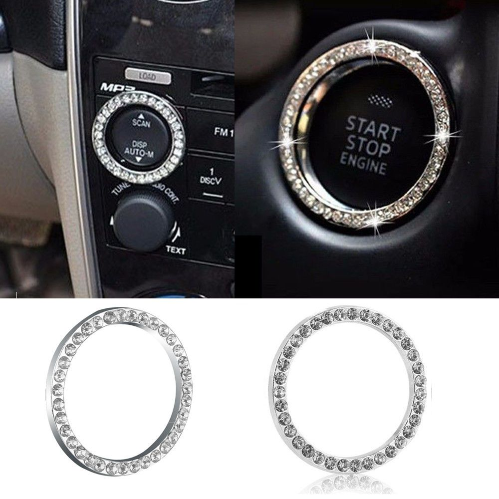 Car SUV Bling Decorative Accessories Button Start Switch Silver Diamond Ring New Arrival