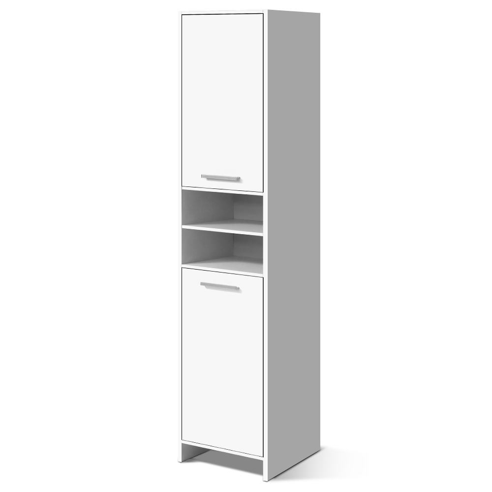 Artiss 185cm Durable Practical Bathroom Tallboy Toilet Storage Cabinet Laundry Cupboard Adjustable Shelf White Easy Assembly A2