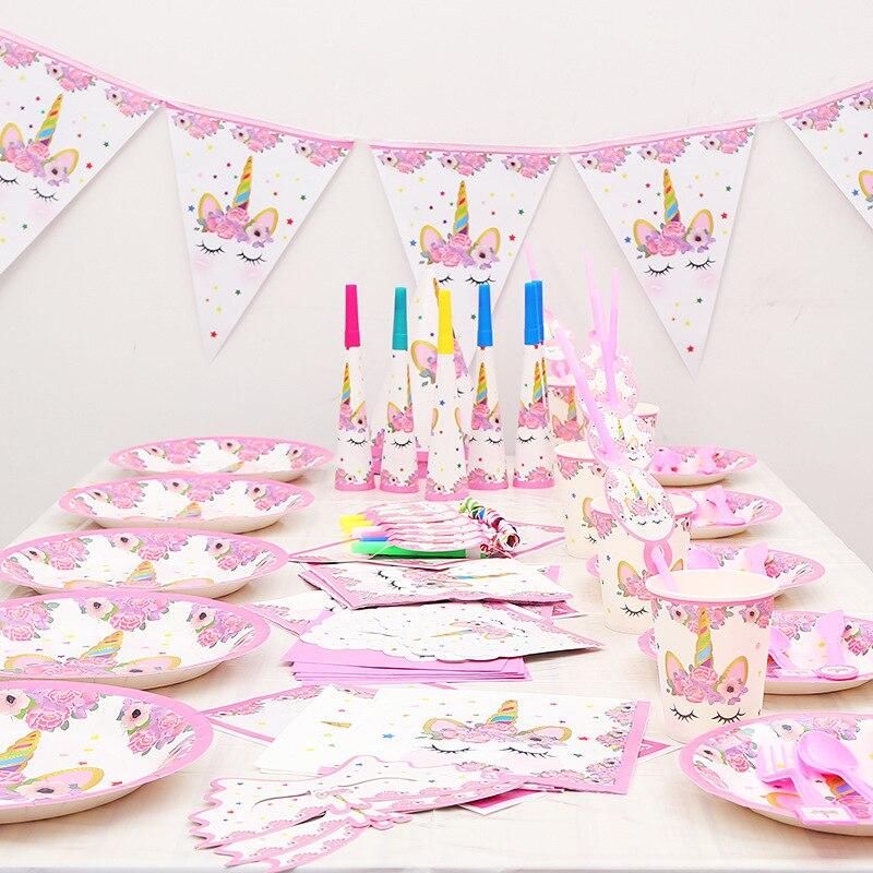 Fournitures de fête licorne décorations de fête d'anniversaire enfants licorne anniversaire vaisselle jetable ensembles fête d'anniversaire