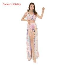 Bling Bling Vestito Le Donne Orientali Abiti Da Ballo Sexy di Grandi Paillettes Reggiseno + Gonna Lunga 2pcs Per Gilrs Abbigliamento per la Danza S,M,L