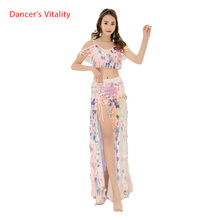 Bling Bling kadınlar oryantal dans elbise seksi büyük payetler sutyen + uzun etek 2 adet kızlar için dans giyim S,M,L