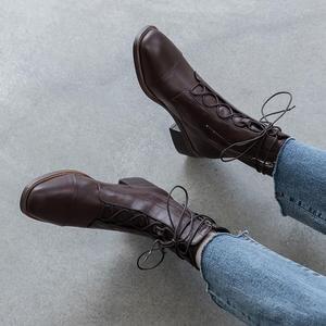 Image 4 - Allbitefo 여성을위한 고품질 정품 가죽 frenulum 발목 부츠 겨울 여성 부츠 간결한 숙녀 신발 여자 부츠