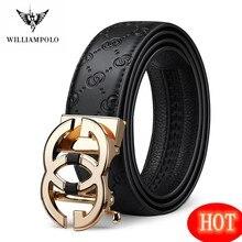 WilliamPolo – ceinture en cuir véritable pour hommes, marque de luxe, styliste, qualité, sangle avec boucle automatique en métal