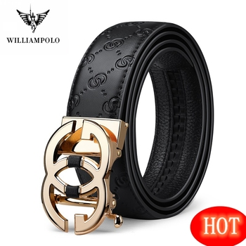 WilliamPolo Genuine leather Belt Men Luxury Brand Designer fashion Top Quality Belts for Men Strap Male Metal Automatic Buckle