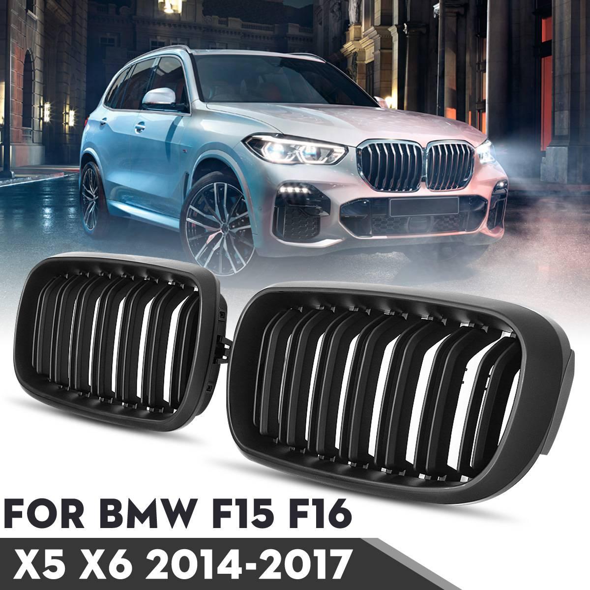 BMW F15 F16 X5 X6 F85 F86 X5M X6M 2014-2017 그릴 용 1 쌍의 자동차 광택/매트 블랙 프론트 범퍼 더블 2 슬랫 키즈 그릴